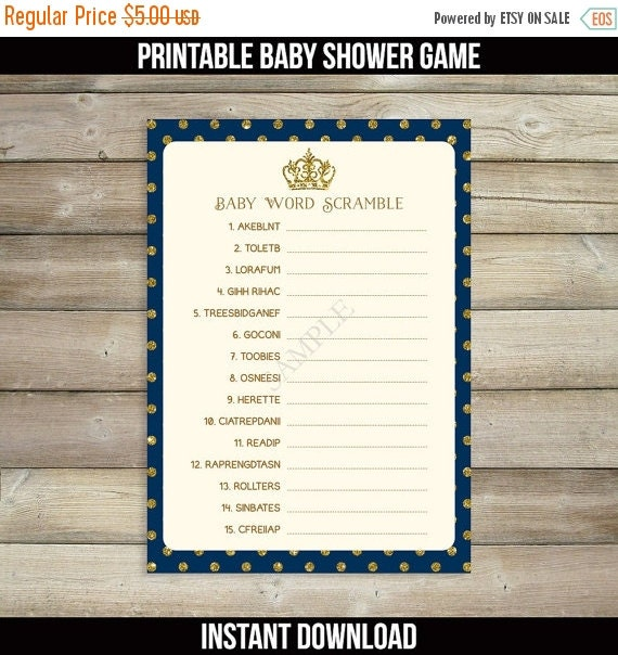 50% OFF SALE Prince Baby Shower Games Baby Word By