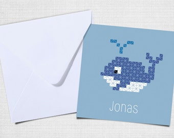 Birth announcement whale with envelope