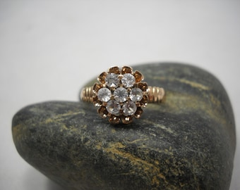 Edwardian Ring 14KT Crystal Flower Delicate/Pretty/Vintage/Cute/Petite