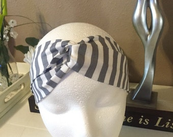 Chevron turban headband~white and grey~