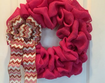Pink Burlap Wreath, Welcome Burlap Wreath, Valentine's Wreath, Burlap Wreath, Pink Burlap Wreath With Chevron Print Burlap Bow