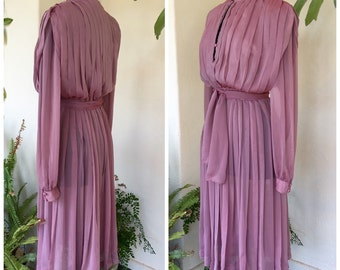 80s RARE Prue Acton designer original mauve dress, long sleeves, pleats vintage mid length