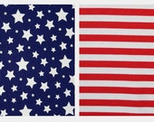 Knit Fabrics 2 yards total: Navy/White Stars  &  Red 1 inch Stripes