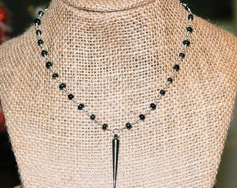 Gunmetal Choker Point Necklace