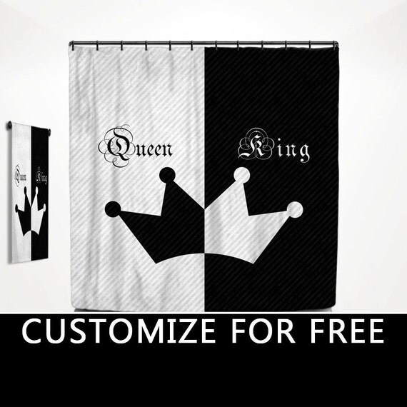 King queen his hers shower curtain his side her side bath for His hers bathroom decor