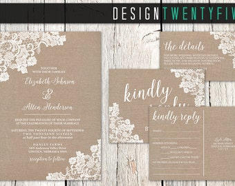 Rustic Lace Wedding Invitation Suite // 5x7 Invitation // Choose Your Set! // The Elizabeth Collection