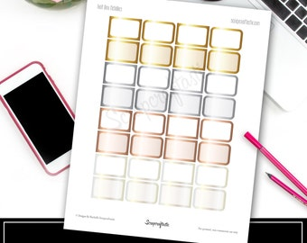 Metallics Half Boxes Printable Planner Stickers