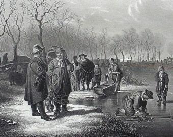 1830 - DUTCH WINTER Scene Landscape - Original Antique Steel Engraving. Snow. Season. Art. Holland.