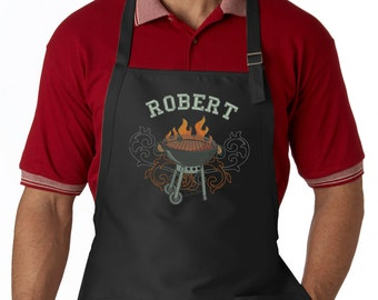 Personalized Men's Apron, Embroidered Wild Side Grill, Custom Bbq Apron