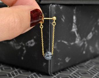 White Howlite Front to Back Chain Earrings | Snowflake Obsidian Drop Earrings | Black Gemstone Dangle Earrings