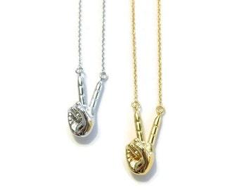 Peace Sign Hand Necklace | V Sign Necklace | Finger Symbol Necklace | 50% OFF SALE