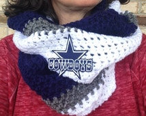 Unisex Dallas Cowboys Scarf, Scarf, Dallas Cowboys Infinity Scarf, NFL, Football, Team Colors, Crochet Scarf, Dallas Cowboys, Cowboys Scarf