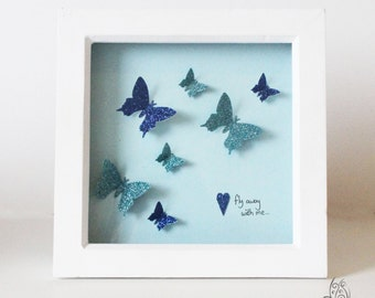 Butterfly Fly Away With Me Flutter Picture Frame Blue 7x7""