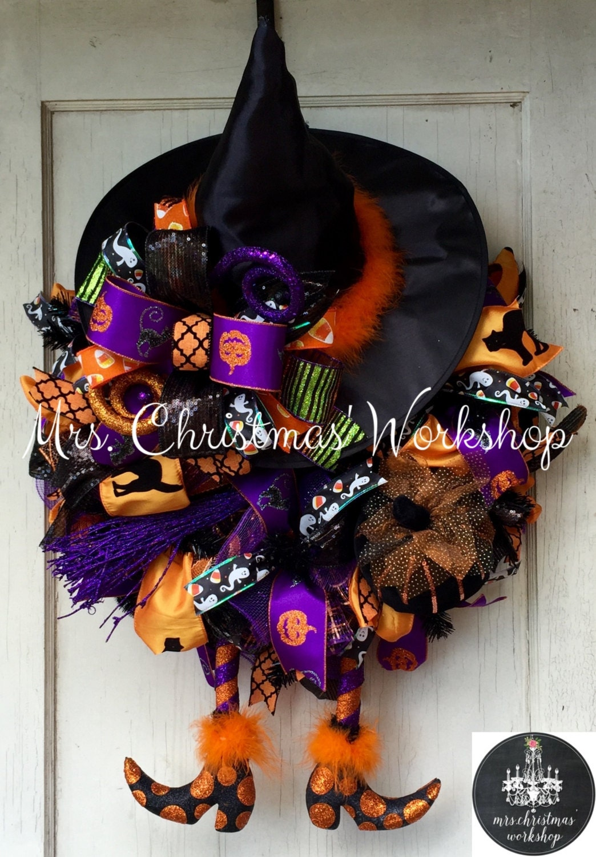 Halloween Wreath Witch Wreath Deco Mesh Wreath Witch Wreath