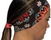 Headband Ponytail 2 in 1 Teal Orange Charcoal Flower Fleece Headeband - workout headband - Wide Headband - Fleece Headband - Ear Warmers