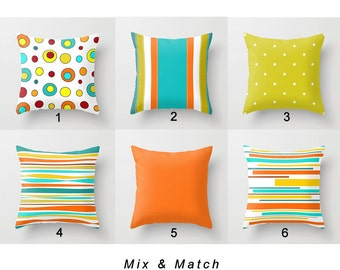 Colorful Throw Pillow Covers, Orange, Yellow, Apple Green Pillow, Turquoise Pillow, Striped Pillows Mix Match Pillows, Bright Pillows