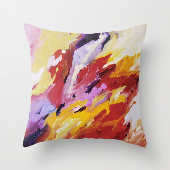 Colorful Pillow Cover Red Yellow Purple Pillow Throw