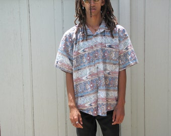 Vintage 80s 90s Mens Button Up Collared Shirt