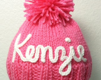 sizes 5 - 10 yrs. - Custom made, Personalized, Hand-Knit Kid's Hat