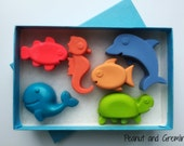 Sealife Crayons, Kids Birthday Gift, Sealife Crayons Gift Boxed, Colouring Activities, Kids Craft, Sealife Ocean Party, Gift for Boy or Girl