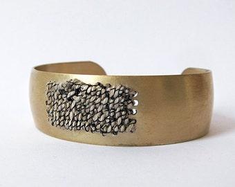 Brass Cuff Bracelet - woven tapestry - fabric bracelet - woven bracelet - statement bracelet - textile jewelry - boho bracelet