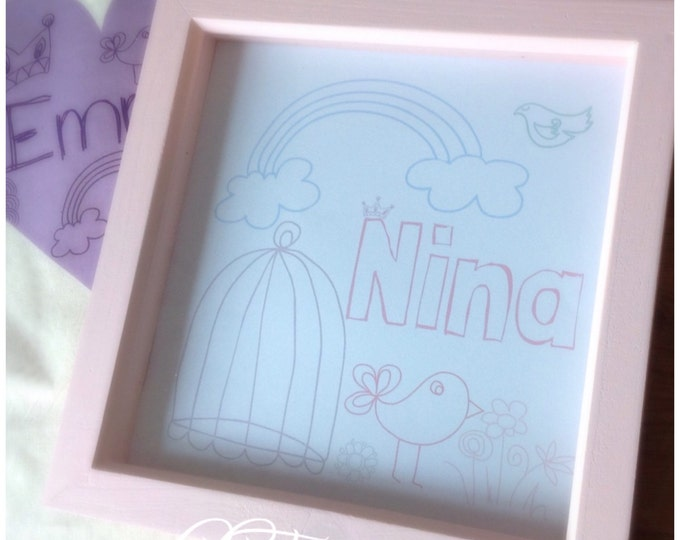 Personalised print, pink/white or blue frame. 3D Box Frame, birthdays, Custom Print, new baby. Comes in any colours.