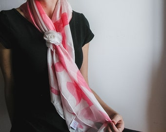 Pink and White Patterned Pongee Silk Shawl/ Handmade Fade Resistant Light Pink Square Scarf/ Hand Painted Colorful Fashion Shawl