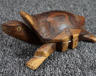 Hand-Carved Wooden Turtle Trinket Box