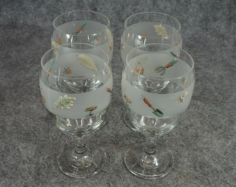 """Libbey Glass """"In The Garden"""" Set Of Glasses X 4"""