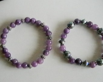 Purple Blue Iridescent Dyed Quartzite Beaded Stretchy Bracelets