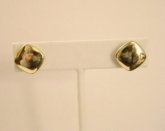 Gold Tone Square Button Pierced Earrings