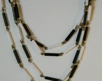 Vintage FUN Black and White Tube Necklace