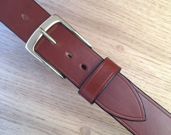 Handmade Leather Belt (Tan colour) with Solid Brass Buckle