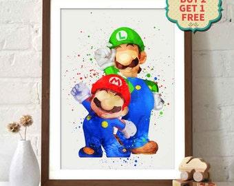 Mario Bros. - Mario and Luigi Watercolor Poster