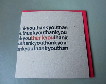 Pack of 5 Thank You letterpress gift cards