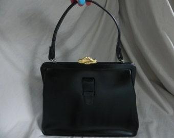 1950's Vintage Kelly Style Black Leather Handbag Purse