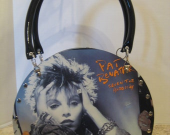 "Pat Benatar ""Seven The Hard Way"" Vintage Vinyl Record Tote Purse Handbag 80's Rock Music Recycled Handmade"