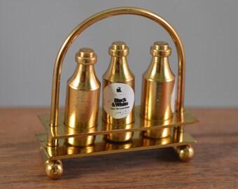 Dollhouse 1/12 miniature set vintage metal,brass bottles on base