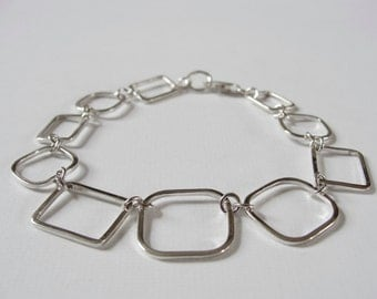 Square bracelet. Geometric bracelet. Square jewellery. Chain and link bracelet. Sterling silver