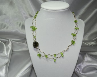 Green Garnet amd Peridot Gold Necklace