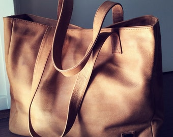 Tan Leather Tote Bag with Free shipping. Handmade genuine leather tote,Traditional shoulder tote bag, Leather tote bag,tote bag,shoulder bag