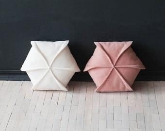 "Set of 2  Felt Pillow / Geometric /Ivory & Blush pink/ Modern  Pillow / 18"" x 18"""