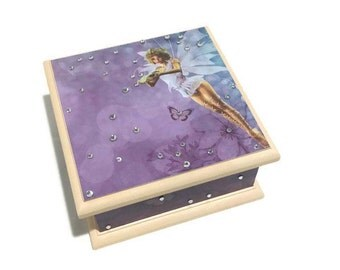 Fairy Keepsake Box - Purple & Cream