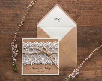 Rustic Wedding Invitation Suite (20), Wedding Invitations Rustic, Lace Wedding Invitations, Craft Wedding Invitations Lace, Wedding Invites