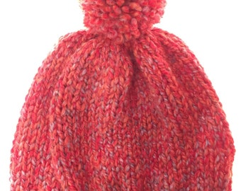 Knitted Slouchy Hat with Pom Pom