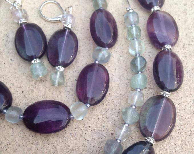 Double Fluorite necklace jewellery set, fluorite earrings, fluorite bracelet, deep fluorite jewellery, bright fluorite jewelry