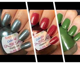 Bare Necessities Nail Polish Trio red blue green full size