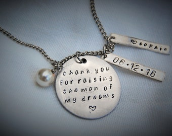 Mother of the Bride, Mother of the Groom gifts, hand stamped necklaces