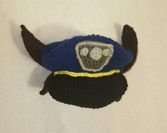 Paw patrol Halloween costume hat, made to order, toddler size, paw patrol chase hat, police hat