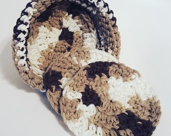 100% Cotton Yarn Crocheted Coasters with Basket/Cozy